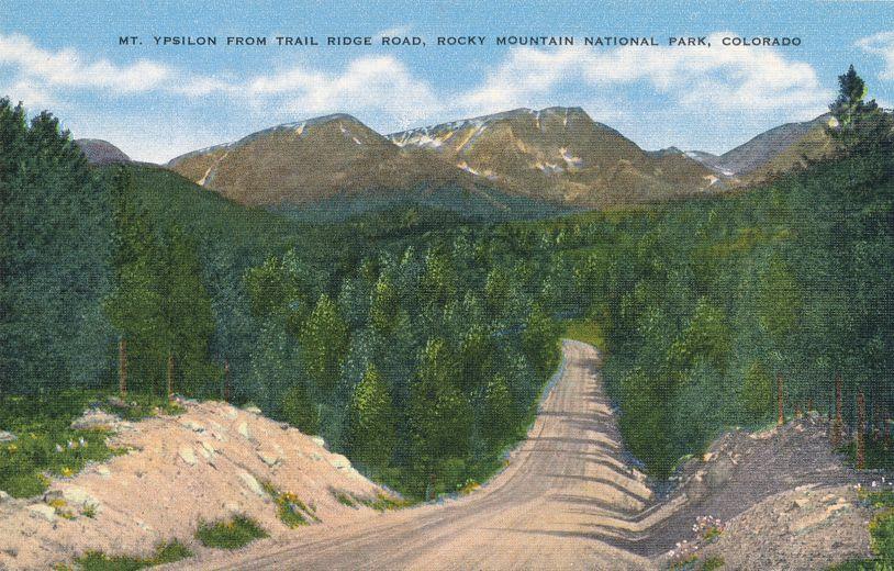 Rocky Mountain National Park, Colorado - Mount Ypsilon from Trail Ridge Road - Linen Card