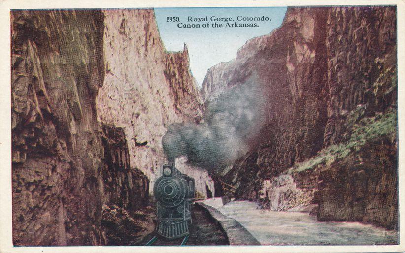 Royal Gorge, Colorado - Train in the Canon of the Arkansas - White Border