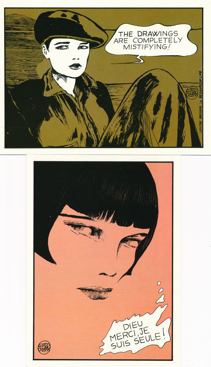 (4 cards) Silent Film Star Louise Brooks Prints by Comic Artist Guido Crepax