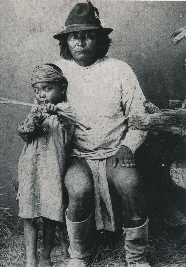 White Mountain Apache Chief and Son - Indian circa 1895 Western USA - Recent Print