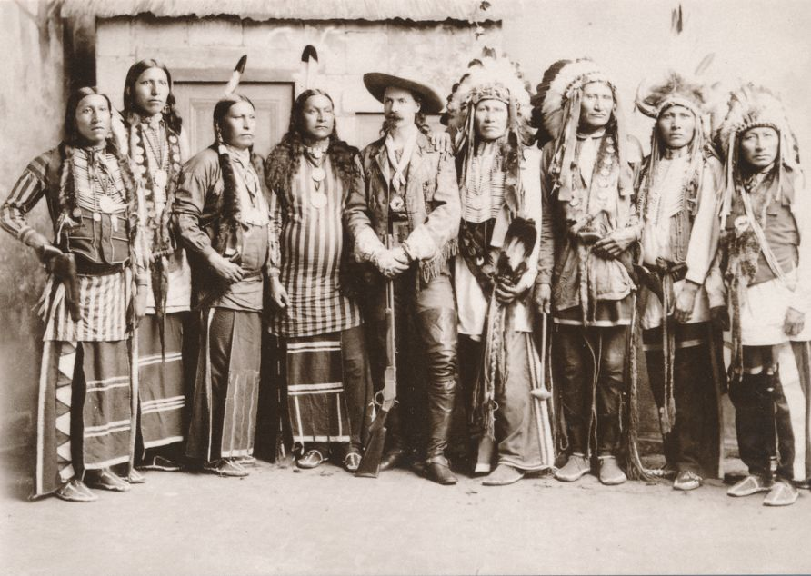 Buffalo Bill with Native American Indian Chiefs circa 1890 Western USA - Recent Print