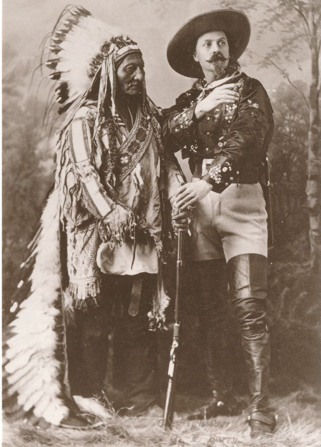Sioux Indian Sitting Bull and Buffalo Bill - circa 1880 - Western USA - Recent Print