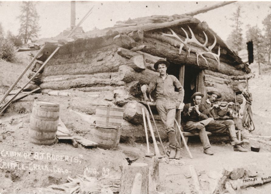 Frontiersmen at Roberts Cabin, Cripple Creek Colorado - 1893 Photo - Western USA - Recent Print
