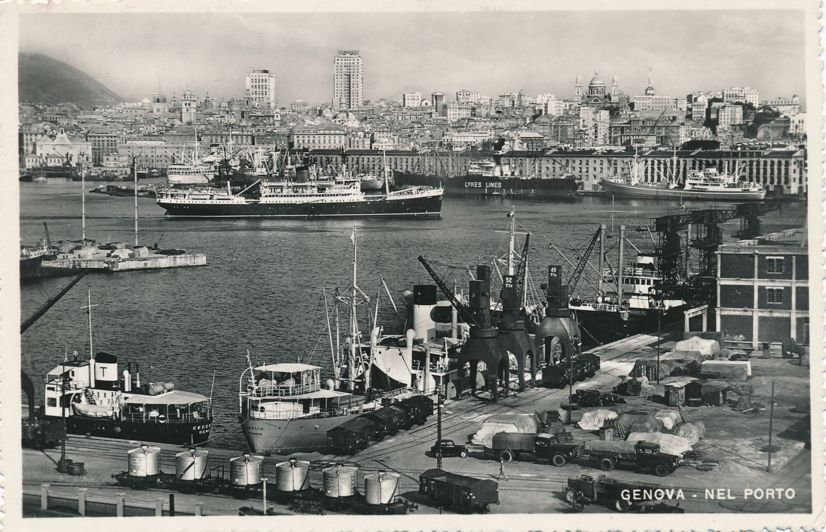 RPPC Ships in Harbor and Port at Genoa - Genova, Italy - pm 1953 at Firenze Italy - Real Photo