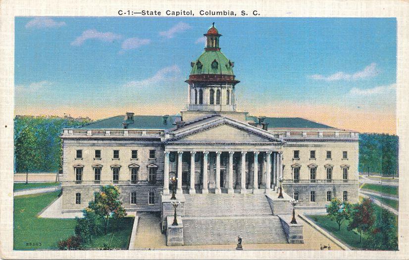 State Capitol Building - Columbia, South Carolina - Linen Card