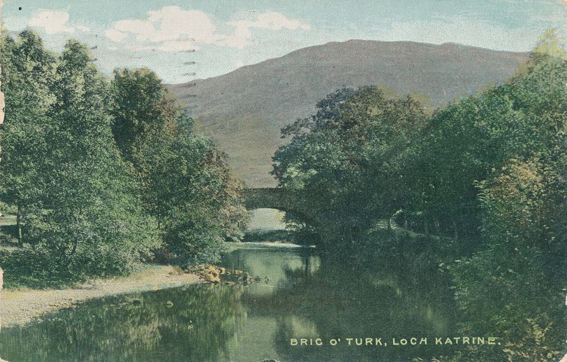 Bridge at Brig O'Turk - Loch Katrine, Scotland - pm 1906 at Toronto Canada - Undivided Back