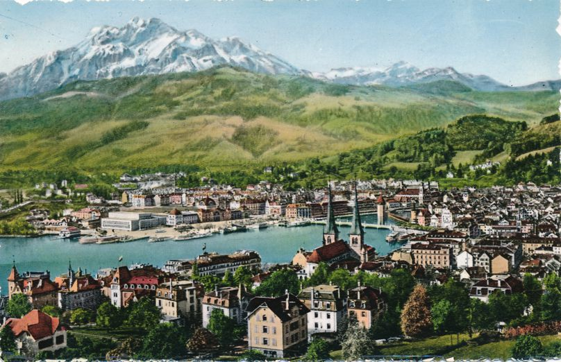 Luzern und Pilatus, Switzerland - Lake Lucerne and Mt Pilatus - pm 1953