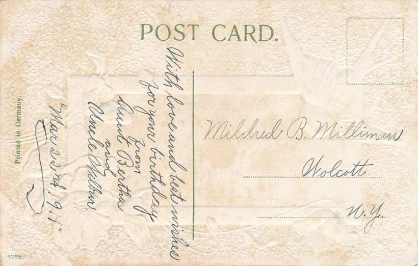 Birthday Greetings to Mildred of Wolcott NY from Aunt Bertha and Uncle Wilbur - Divided Back
