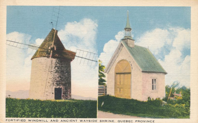Fortified Windmill and Ancient Wayside Shrine - Quebec, Canada - Linen Card