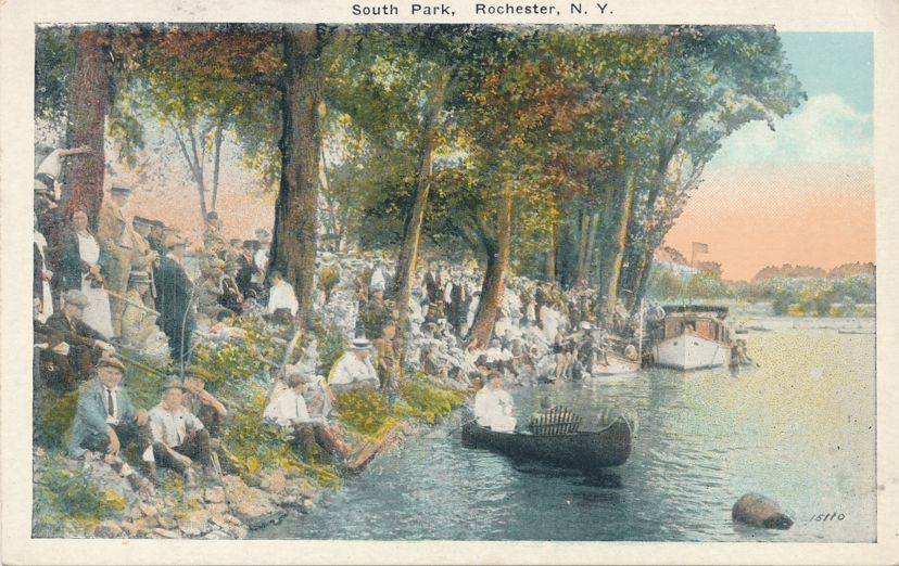 Crowd along Genesee River - South Park, Rochester, New York - White Border