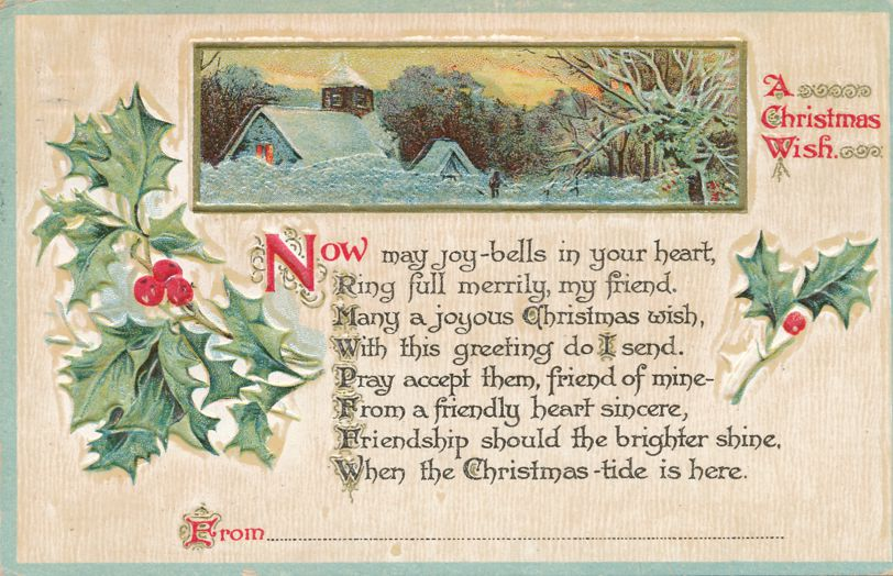 Christmas Wish Greetings - May Joy-Bells Ring in Your Heart - Winter church scene - pm 1918 at Elmira NY - Divided Back