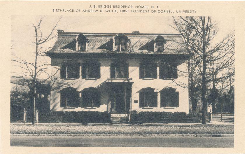 J.B. Briggs Residence - Homer, New York - Birthplace Andrew D. White - White Border