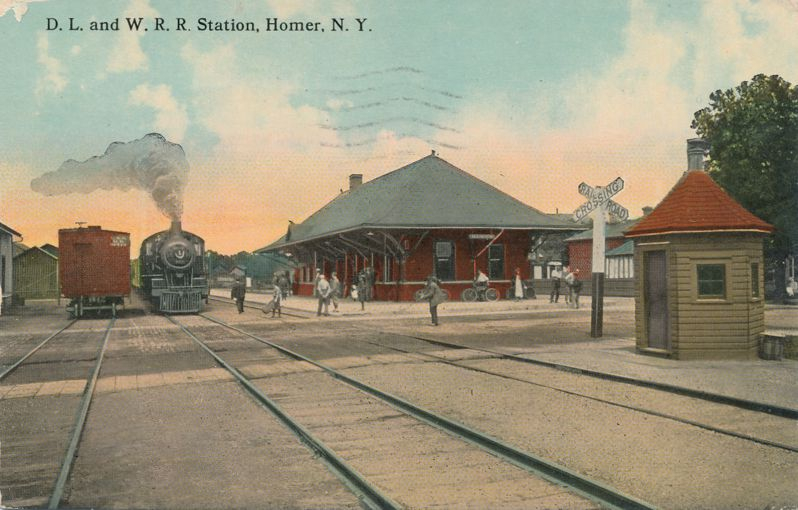 Homer, New York - DL&W Railroad Staion - Delaware, Lackawanna & Western - pm 1916 at Cortland - Divided Back