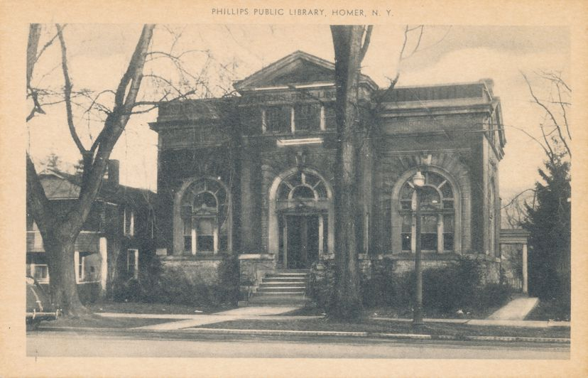 Homer, Cortland County, New York - Phillips Public Library - White Border