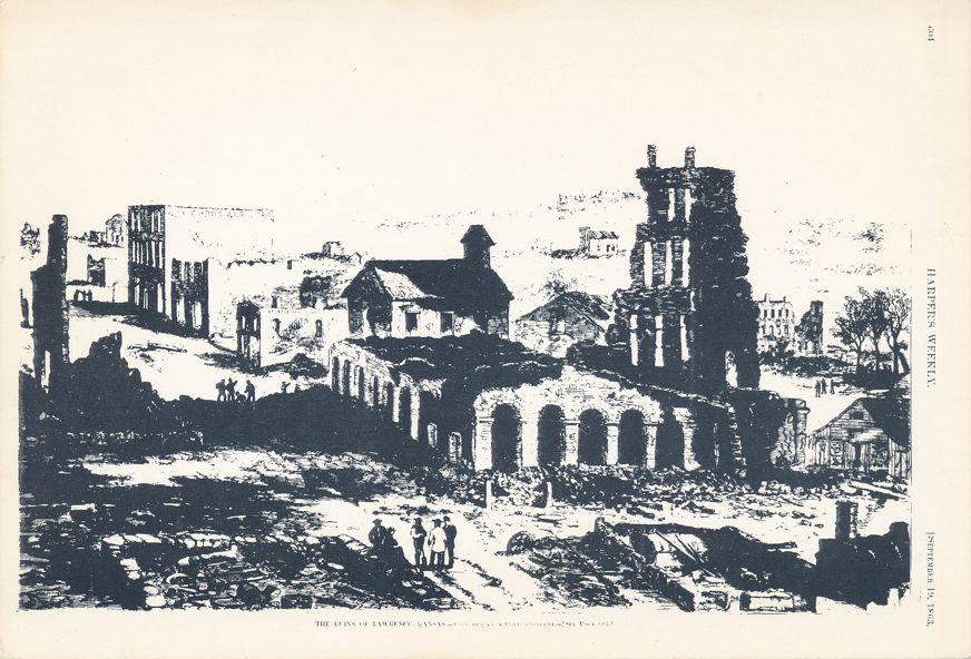 Lawrence, Kansas - Eldridge Hotel after Quantrill's Raid in 1863