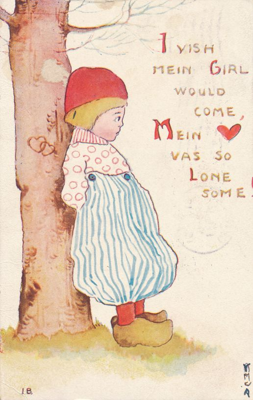 Valentine Greetings Dutch Mein Heart was so Lonesome - F A Owens of Dansville NY - pm 1913 at Geneva NY - Divided Back
