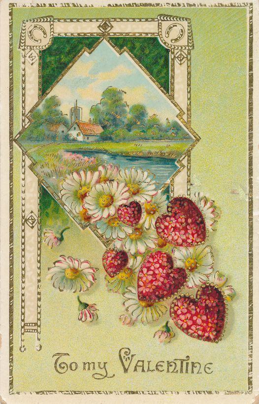 Valentine Greetings - Flower Hearts - Rural Scene - Divided Back