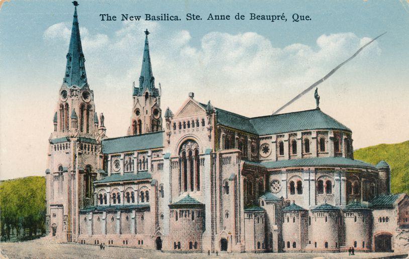 New Basilica - Church - Ste Anne de Beaupre, Quebec, Canada - Divided Back