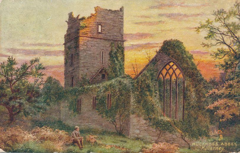 Muckross Abbey in Killarney, Ireland - Divided Back - Tuck Oilette