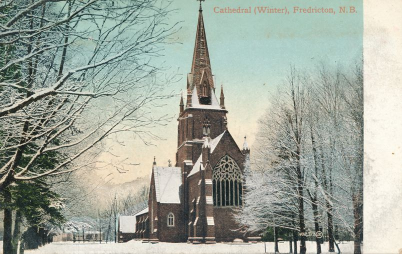 Cathedral at Fredericton, New Brunswick, Canada - Winter View - pm 1907 at ember - Divided Back