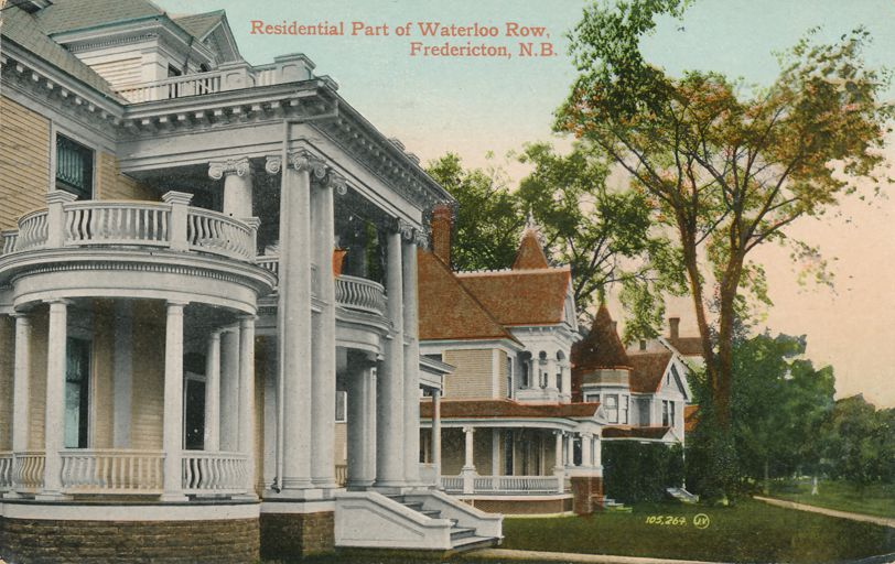 Fredericton, New Brunswick, Canada - Residential Section of Waterloo Row - pm 1911 - Divided Back