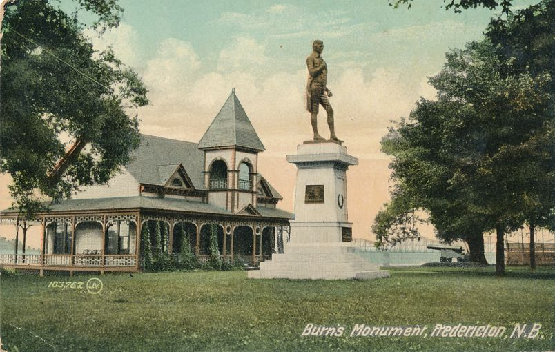 Burn's Monument at Fredericton, New Brunswick, Canada - pm 1910 at St John NB - Divided Back