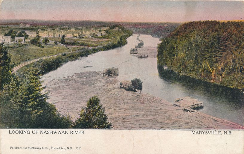 Looking up the Nashwaak River at Marysville, New Brunswick, Canada - pm 1906 at Fredericton NB
