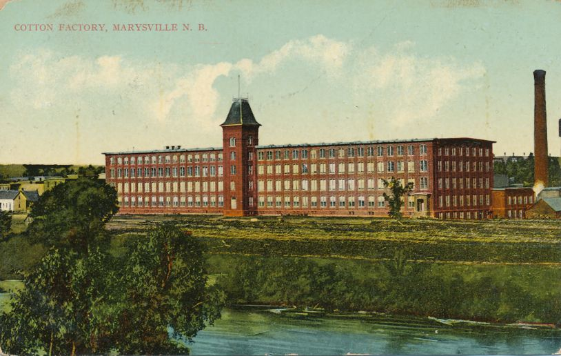 Cotton Factory along Nashwaak River - Marysville, New Brunswick, Canada - pm 1910 at Maugerville NB - Divided Back