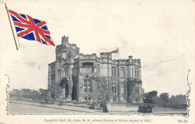 Caverhill Hall at Saint John, New Brunswick, Canada - Embossed Flag - pm 1908