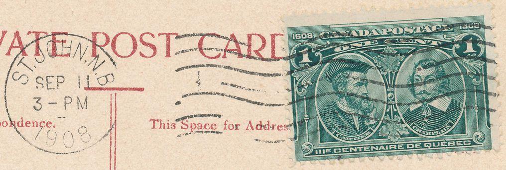 Canada #97 Cartier and Champlain Used on Postcard (Rockwood Park St John, New Brunswick) - pm 1908 at Saint John