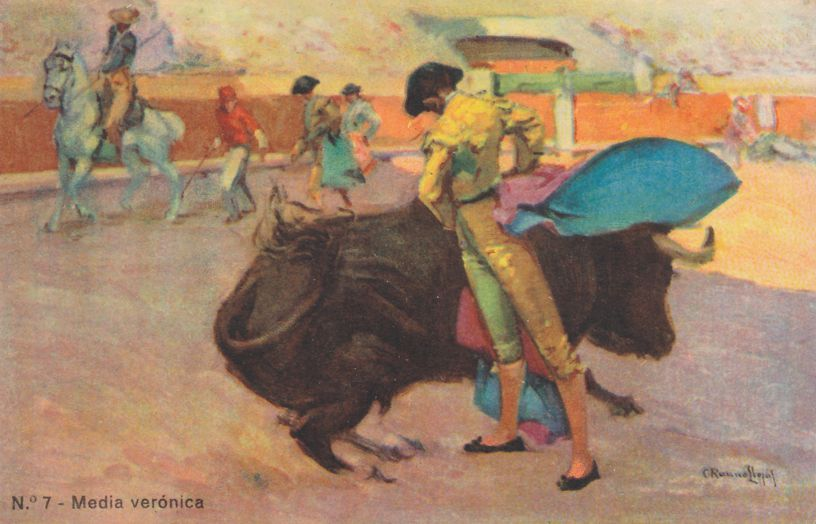 Bullfighting in Spain - Media Veronica - Artist Signed - Divided Back