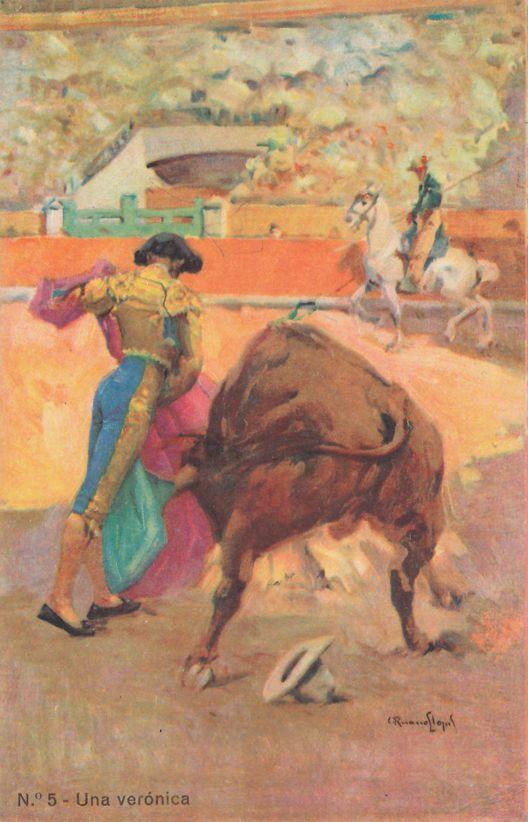 Bullfighting in Spain - Una veronica - Artist Signed - Divided Back