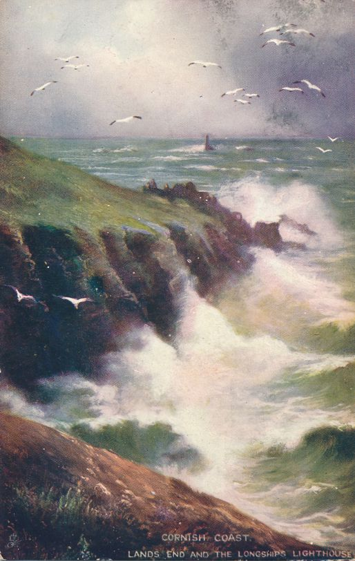 Cornish Coast at Lands End, United Kingdom - Longships Lighthouse in distance - pm 1907 at Canada - Divided Back - Tuck