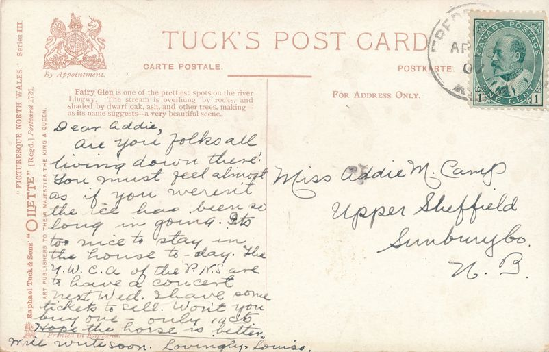 Fairy Glen - Betws-y-Coed, Wales, United Kingdom - pm 1907 at Fredericton NB - Divided Back - Tuck