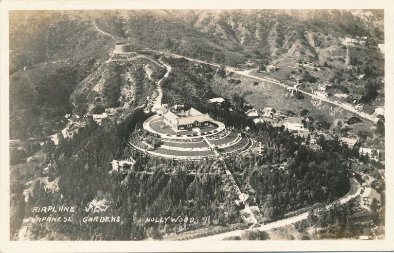 RPPC Aerial View of the Japanese Gardens - Hollywood, California - Real Photo