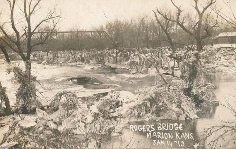RPPC Rogers Bridge in Winter - January 14, 1910 - Marion, Kansas - pm 1910 - Real Photo