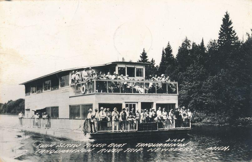 RPPC Twin Screw River Boat - Tahquamenon - Newberry, Michigan - pm 1950 - Real Photo