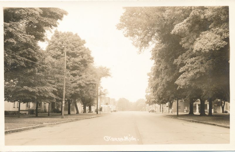RPPC Looking Towards Downtown Business District -Otsego, Michigan - Real Photo