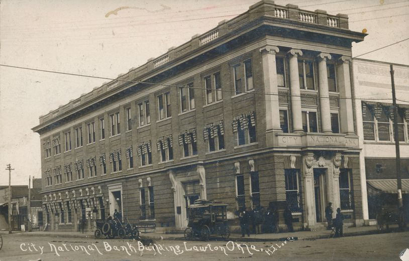 RPPC City National Bank - Lawton, Oklahoma - Photographer H J Love - pm 1912 at Rutland IL - Real Photo