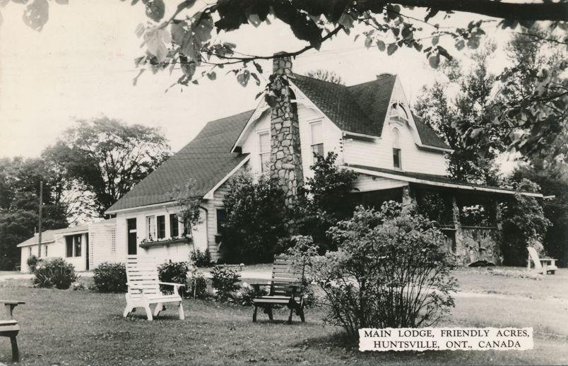 RPPC Main Lodge at Friendly Acres Resort - Huntsville, Ontario, Canada - pm 1966 - Real Photo