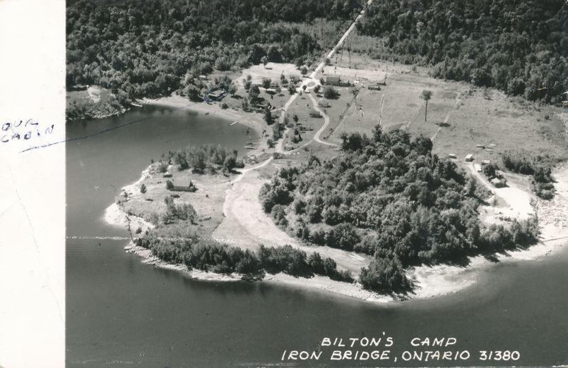 RPPC Aerial View of Bilton's Camp Resort - Iron Bridge, Ontario, Canada - pm 1957 - Real Photo