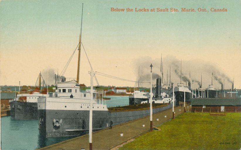 Freighters below the Locks - Sault Ste Marie, Ontario, Canada - Divided Back