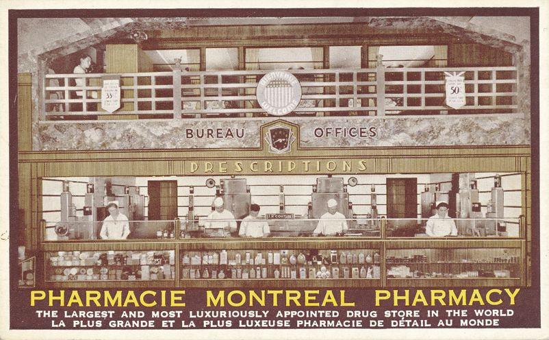 Pharmacy - World's Most Luxuriously Appointed Drug Store - Montreal, Quebec, Canada - Divided Back