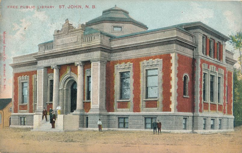 Free Public Library - St John, New Brunswick, Canada - pm 1907 - Divided Back