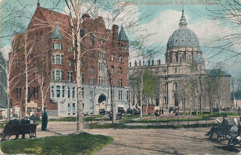YMCA and St James Cathedral - Montreal, Quebec, Canada - pm 1906 - Undivided Back