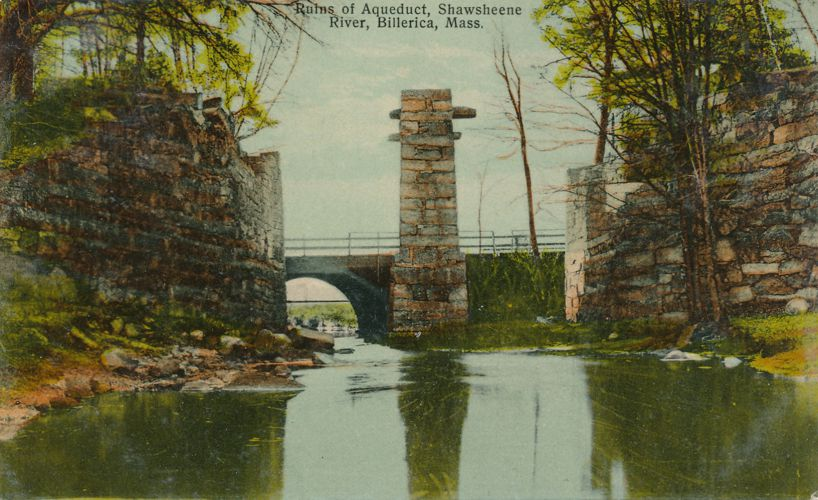 Ruins of Aqueduct on Shawsheene River - Billerica, Massachusetts - pm 1910 at North Billerica - Divided Back