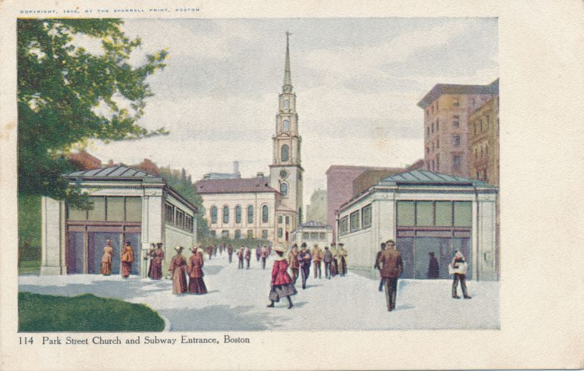 Boston, Massachusetts - Park Street Church and Subway Entrance - pm 1908 at Upper Sheffield NB - Undivided Back