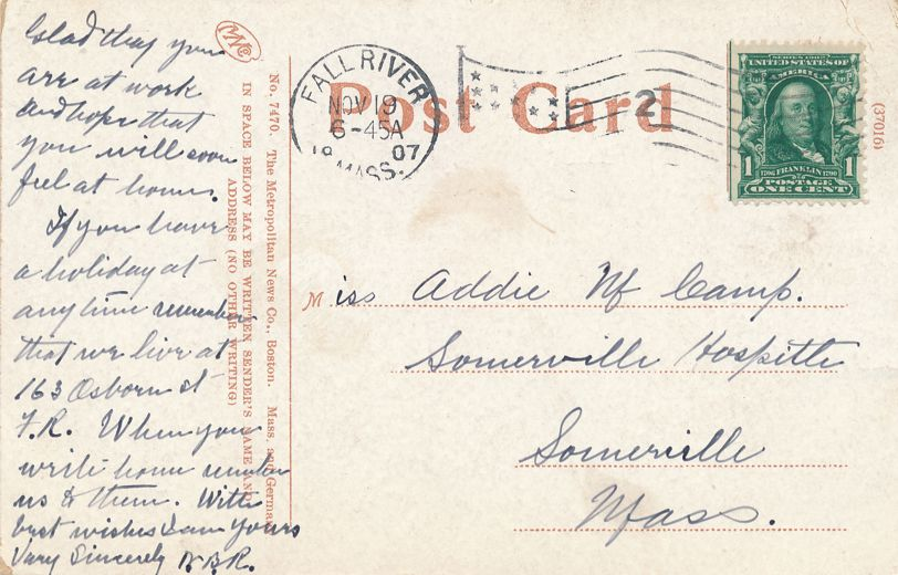 Post Office at Fall River, Massachusetts - pm 1907 at Boston - Divided Back