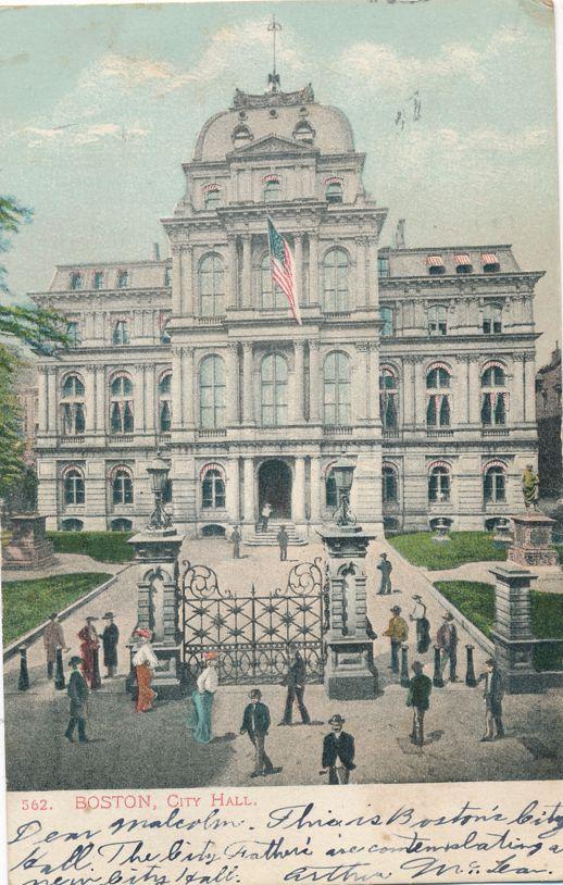 City Hall at Boston, Massachusetts - pm 1905 - Undivided Back