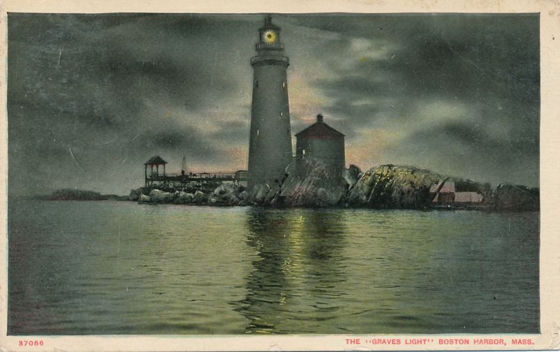 Evening View of the Graves Light House - Boston Harbor, Massachusetts - pm 1910 at Smith Nova Scotia - Divided Back